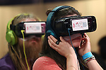 Foreign visitors try out virtual reality goggles during the Moshi Moshi Nippon Festival 2016 on November 26, 2016 in Tokyo, Japan. Moshi Moshi Nippon Festival 2016 aims to promote Japanese pop culture (fashion, anime, technology, music and food) to the world, and non-Japanese visitors are able to enter the event for free by showing their passport. This year's two day event included live shows by Japanese pop stars Silent Siren, Dempagumi.inc, Tempura Kids, Capsule and Kyary Pamyu Pamyu at the Tokyo Metropolitan Gymnasium. (Photo by Rodrigo Reyes Marin/AFLO)