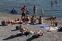 Norwegen, Oslo, Badestrand auf den Fjordinseln