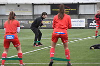 Tom Vanhauwaert  pictured during the warming up of  a female soccer game between SV Zulte - Waregem and Sporting Charleroi on the eleventh matchday of the 2020 - 2021 season of Belgian Scooore Womens Super League , saturday 23 th of January 2021  in Zulte , Belgium . PHOTO SPORTPIX.BE   SPP   DIRK VUYLSTEKE