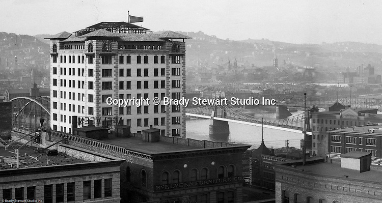 Pittsburgh PA:  View of City from the top of the Empire Building. View of the city looking across to the Allegheny River and North Side. The Bessemer Building in the left near the river and the 6th, 9th Street Bridges