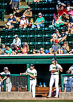 """20 June 2021: Vermont Lake Monsters outfielder Sky Rahill, from Burlington, VT, awaits his at-bat """"in the hole"""" during a game against the Westfield Starfires at Centennial Field in Burlington, Vermont. Rahill went 1 for 2 with a walk and a two-run homer in the 8th inning, accounting for all the home team scoring, as the Lake Monsters fell to the Starfires 10-2 at Centennial Field, in Burlington, Vermont. Mandatory Credit: Ed Wolfstein Photo *** RAW (NEF) Image File Available ***"""