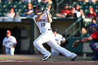 Rochester Red Wings designated hitter Nate Hanson (19) hits a home run during the second game of a doubleheader against the Buffalo Bisons on July 6, 2014 at Frontier Field in Rochester, New  York.  Rochester defeated Buffalo 6-1.  (Mike Janes/Four Seam Images)