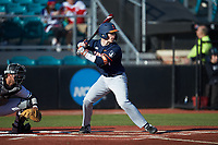 Jacob Campbell (9) of the Illinois Fighting Illini at bat against the Coastal Carolina Chanticleers at Springs Brooks Stadium on February 22, 2020 in Conway, South Carolina. The Fighting Illini defeated the Chanticleers 5-2. (Brian Westerholt/Four Seam Images)