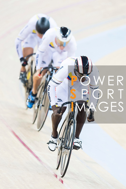 The team of Colombia with Ruben Dario Murillo Minota, Fabian Hernando Puerta Zapata and Santiago Ramirez Morales competes in Men's Team Sprint - Qualifying match as part of the 2017 UCI Track Cycling World Championships on 12 April 2017, in Hong Kong Velodrome, Hong Kong, China. Photo by Victor Fraile / Power Sport Images
