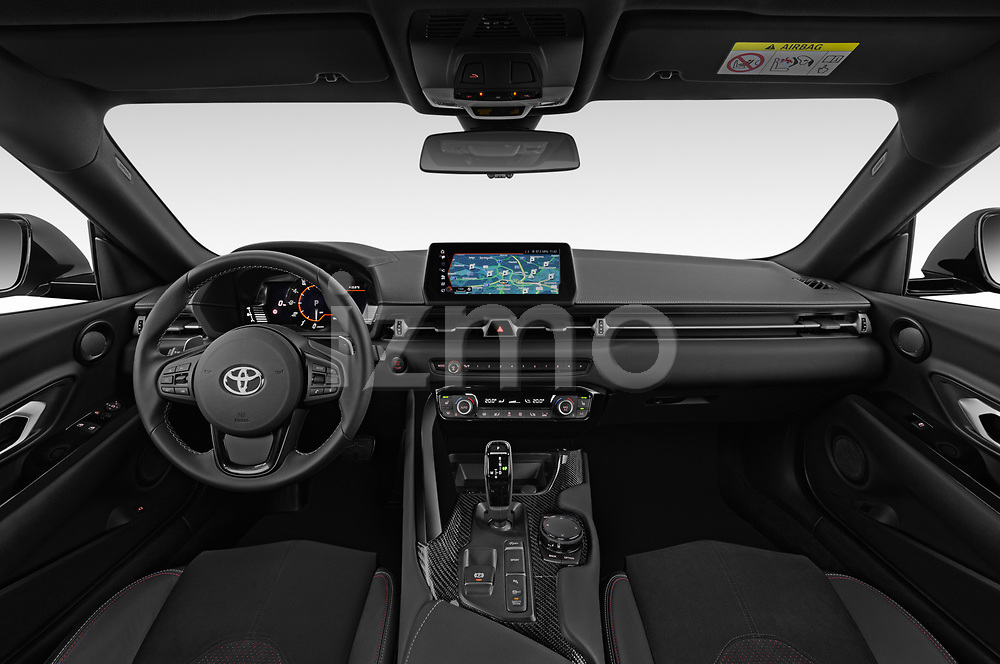 Stock photo of straight dashboard view of a 2019 Toyota GR-Supra Sport 2 Door Coupe