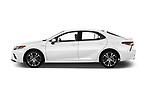 Car driver side profile view of a 2019 Toyota Camry Hybrid SE 4 Door Sedan