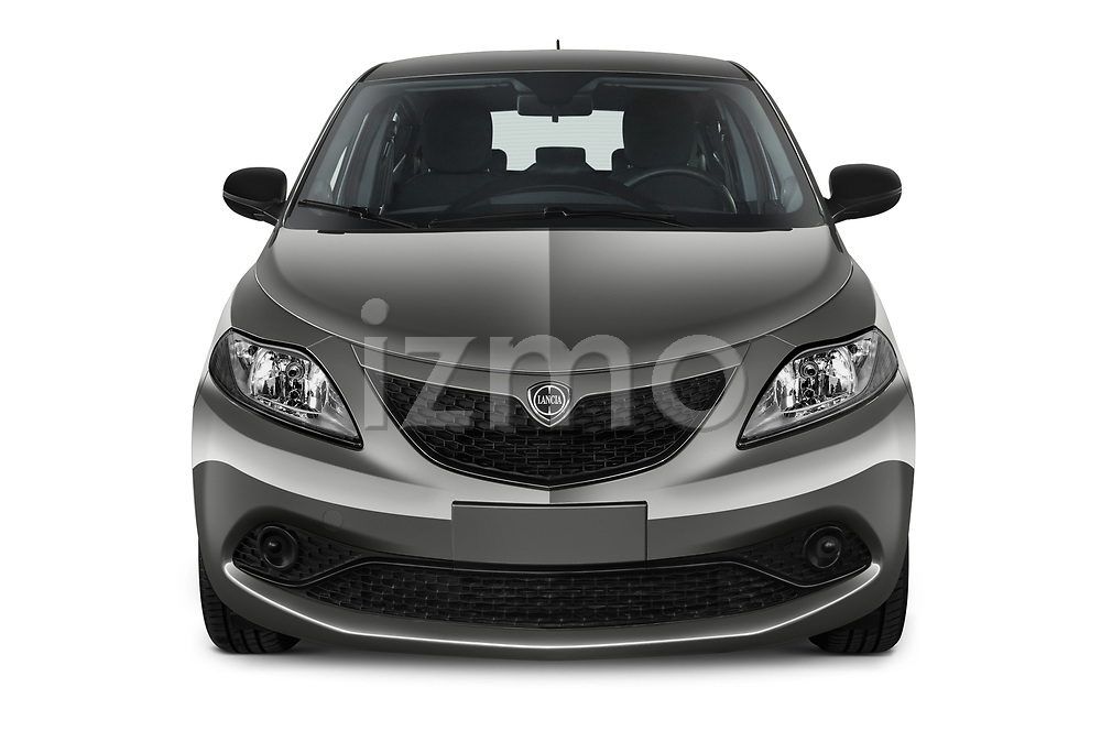 Car photography straight front view of a 2019 Lancia Ypsilon Gold 5 Door Hatchback Front View