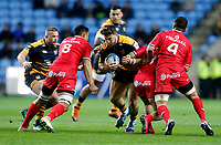 Photo: Richard Lane/Richard Lane Photography. Wasps v Toulouse.  European Rugby Champions Cup. 08/12/2018. Wasps' Ben Harris attacks.