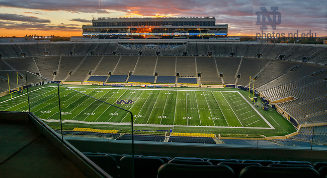 October 11, 2018; Notre Dame Stadium at sunset. (Photo by Peter Ringenberg/University of Notre Dame)