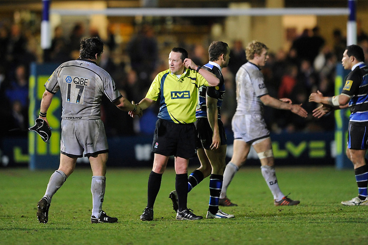 Referee Dave Pearson shakes hands with Marcos Ayerza of Leicester Tigers at the end of the LV= Cup semi final match between Bath Rugby and Leicester Tigers at The Recreation Ground, Bath (Photo by Rob Munro, Fotosports International)