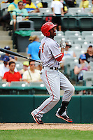 Harrisburg Senators outfielder Destin Hood (4) during game against the Trenton Thunder at ARM & HAMMER Park on July 31, 2013 in Trenton, NJ.  Harrisburg defeated Trenton 5-3.  (Tomasso DeRosa/Four Seam Images)