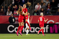 CARSON, CA - FEBRUARY 07: Shelina Zadorsky #4 and Janine Beckie #16 of Canada celebrate during a game between Canada and Costa Rica at Dignity Health Sports Complex on February 07, 2020 in Carson, California.