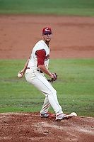 Clearwater Threshers pitcher Ethan Stewart (28) delivers a pitch during the first game of a doubleheader against the Jupiter Hammerheads on July 25, 2015 at Bright House Field in Clearwater, Florida.  Jupiter defeated Clearwater 8-5.  (Mike Janes/Four Seam Images)