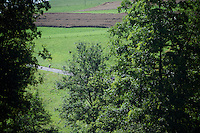 with 15km to go Rui Costa (POR/Lampre-Merida) tries to outrun the peloton on the descent into Bern<br /> <br /> st16: Morain-en-Montagne to Bern (SUI) / 209km<br /> 103rd Tour de France 2016