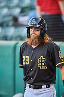 Brandon Marsh (23) of the Salt Lake Bees waits to bat against the Tacoma Rainiers at Smith's Ballpark on May 13, 2021 in Salt Lake City, Utah. The Rainiers defeated the Bees 15-5. (Stephen Smith/Four Seam Images)