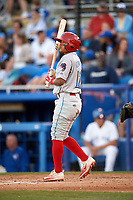 Clearwater Threshers Grenny Cumana (12) at bat during a game against the Dunedin Blue Jays on April 8, 2017 at Florida Auto Exchange Stadium in Dunedin, Florida.  Dunedin defeated Clearwater 12-6.  (Mike Janes/Four Seam Images)