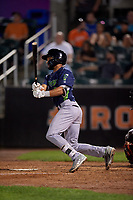 Vermont Lake Monsters Yerdel Vargas (2) bats during a NY-Penn League game against the Aberdeen IronBirds on August 19, 2019 at Leidos Field at Ripken Stadium in Aberdeen, Maryland.  Aberdeen defeated Vermont 6-2.  (Mike Janes/Four Seam Images)