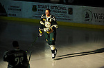 12 November 2010: University of Vermont Catamount defenseman Kyle Medvec, a Senior from Burnsville, MN, is introduced prior to facing the Boston College Eagles at Gutterson Fieldhouse in Burlington, Vermont. The Eagles edged out the Cats 3-2 in the first game of their weekend series. Mandatory Credit: Ed Wolfstein Photo