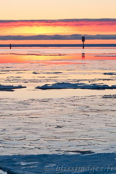 Sunset Ice at Kallo -western Finland