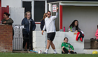 Flackwell Heath Ladies Manager Damian Atkins gives instructions during the Thames Valley Counties Women's Football League (TVCWFL) match between Flackwell Heath Ladies and Laurel Park Vipers at Wilks Park, Blackwell Heath, England on 11 October 2015. Photo by Andy Rowland.