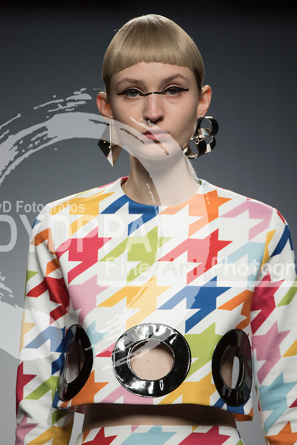 Model poses a Maria Escote's creation during the MBFW Madrid (Mercedes Benz Fashion Week Madrid) Autumn/Winter at IFEMA in Madrid on January 25, 2018.