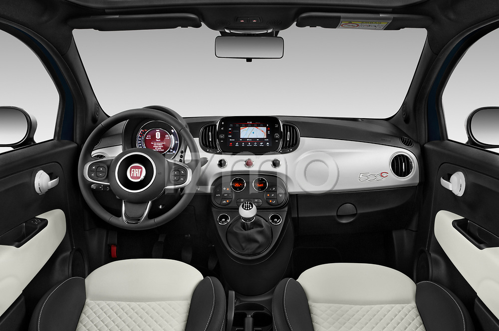 Stock photo of straight dashboard view of 2020 Fiat 500C-HYBRID S8-Star 2 Door Convertible Dashboard