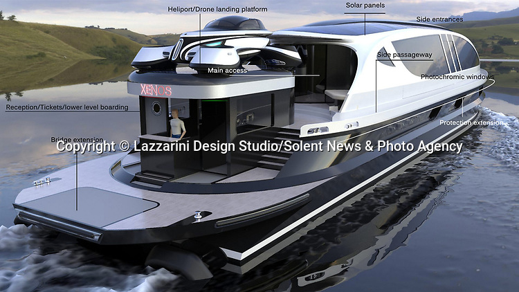Pictured: Exterior view (with labels) of the Xenos <br /> <br /> The world's first £52 million hyper yacht concept has been created - and it comes with a free £4 million Bugatti Chiron supercar.  The Xenos will have 15,000 horsepower, and be able to hit a top speed of more than 100mph, according to its creators at Lazzarini Design Studio.<br /> <br /> The 130ft-long Xenos would be made of aluminium and carbon and is said to be 'designed for comfortable high speed cruises.'  The sleek, black and chrome yacht has auto tinting windows, as well as roof mounted solar panels, and will also be available as an electric powered model.  SEE OUR COPY FOR DETAILS.<br /> <br /> Please byline: Lazzarini Design Studio/Solent News<br /> <br /> © Lazzarini Design Studio/Solent News & Photo Agency<br /> UK +44 (0) 2380 458800