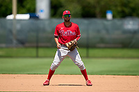 Philadelphia Phillies first baseman Arturo De Freitas (3) during an Extended Spring Training game against the Toronto Blue Jays on June 12, 2021 at the Carpenter Complex in Clearwater, Florida. (Mike Janes/Four Seam Images)