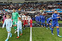 Lukasz Fabianski of Swansea City leads team mates out of the tunnel during the Premier League game between Swansea City v Chelsea at the Liberty Stadium, Swansea, Wales, UK. Saturday 28 April 2018
