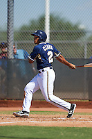 Milwaukee Brewers Trent Clark (2) during an instructional league game against the Cleveland Indians on October 8, 2015 at the Maryvale Baseball Complex in Maryvale, Arizona.  (Mike Janes/Four Seam Images)