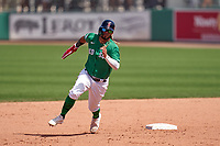 Boston Red Sox Jonathan Araúz (3) running the bases during a Major League Spring Training game against the Minnesota Twins on March 17, 2021 at JetBlue Park in Fort Myers, Florida.  (Mike Janes/Four Seam Images)