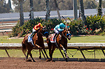 ARCADIA, CA  JULY 4:  #1 Classier, ridden by Mike Smith, and #3 Defunded, ridden by Abel Cedillo, in the stretch of the Los Alamitos Derby (Grade lll) on July 4, 2021 at Los Alamitos Race Course in Los Alamitos, CA.  (Photo by Casey Pnillips/ Eclipse Sportswire/ CSM)