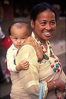 Nepal,Kathmandu. Tibetan mother and child, Thupten's wife
