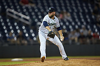Gwinnett Stripers relief pitcher A.J. Minter (33) in action against the Scranton/Wilkes-Barre RailRiders at Coolray Field on August 17, 2019 in Lawrenceville, Georgia. The Stripers defeated the RailRiders 8-7 in eleven innings. (Brian Westerholt/Four Seam Images)