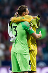 Goalkeeper Samir Handanovic (R) of FC Internazionale and goalkeeper Jan Oblak of Atletico de Madrid hug each other after their International Champions Cup Europe 2018 match between Atletico de Madrid and FC Internazionale at Wanda Metropolitano on 11 August 2018, in Madrid, Spain. Photo by Diego Souto / Power Sport Images