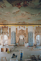 Saint Petersburg, Russia, August 2002..Russia's northern capital is undergoing major renovation and reconstruction in advance of its' 300th anniversary in 2003 - repairing the interiors of the Catherine Palace at Pushkin....