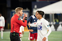 FOXBOROUGH, MA - OCTOBER 16: Referee Adam Kilpatrick singles out Arturo Rodriguez #10 of North Texas SC during a game between North Texas SC and New England Revolution II at Gillette Stadium on October 16, 2020 in Foxborough, Massachusetts.
