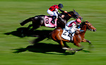 LOUISVILLE, KY - MAY 06: Divisidero #2, ridden by Julien Leparoux, overtakes Beach Patrol #8, ridden by Florent Geroux, to win the Woodford Reserve Turf Classic Stakes on Kentucky Derby Day at Churchill Downs on May 6, 2017 in Louisville, Kentucky. (Photo by Jon Durr/Eclipse Sportswire/Getty Images)