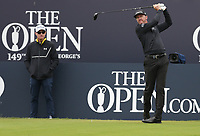 14th July 2021; The Royal St. George's Golf Club, Sandwich, Kent, England; The 149th Open Golf Championship, practice day; Jimmy Walker (USA) hits his tee shot at the 1st hole