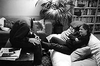 Switzerland. Geneva. Enrico Gastaldello is kissing the foot of Jane Botbol Gastaldello. 16.01.99  © 1999 Didier Ruef