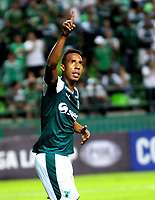 PALMIRA - COLOMBIA-18-07-2018: Jhon Mosquera (Izq) jugador del Deportivo Cali (COL) celebra después de anotar el primer gol de su equipo a Bolívar (BOL) durante partido de la segunda fase, llave 8, por la Copa CONMEBOL Sudamericana 2018 jugado en el estadio Palmaseca de la ciudad de Palmira. / Jhon Mosquera (L) player of Deportivo Cali (COL) celebrates after scoring the first goal of his team to Bolivar (BOL) during match of the second phase, key 8, for the CONMEBOL Sudamericana Cup 2018 played at Palmaseca stadium in Palmira city.  Photo: VizzorImage/ Nelson Rios / Cont
