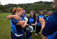 Hutt players celebrate winning the Wellington women's Maureen Peters T20 competition cricket final between Wellington Collegians and Hutt District at Anderson Park in Wellington, New Zealand on Saturday, 28 March 2021. Photo: Dave Lintott / lintottphoto.co.nz