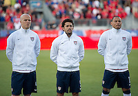 03 June 2012: The US Men's National Soccer Team during the opening ceremonies in an international friendly  match between the United States Men's National Soccer Team and the Canadian Men's National Soccer Team at BMO Field in Toronto..The game ended in 0-0 draw..