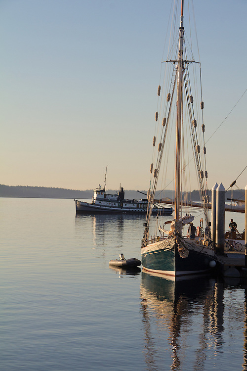 Port Townsend, Wooden Boat Festival, Port Hudson, boat harbor, anchored sailboats, Olympic Peninsula, Washington State, Pacific Northwest, USA,