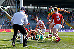 Paul Geaney, Kerry, scores Kerry's fourth goal during the Munster GAA Football Senior Championship Final match between Kerry and Cork at Fitzgerald Stadium in Killarney on Sunday.
