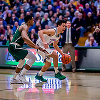 19 January 2019: University of Vermont Catamount Guard Everett Duncan, a Redshirt Junior from Evansville, IN, in first half Men's Basketball action against the Binghamton University Bearcats at Patrick Gymnasium in Burlington, Vermont. Duncan notched 13 points, including 11 in the second half, on 5-of-8 shooting and knocked down three triples as the Catamounts defeated the Bearcats 78-50 to remain unbeaten in conference play to date this season. Mandatory Credit: Ed Wolfstein Photo *** RAW (NEF) Image File Available ***