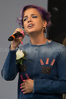 Lily Allen (British singer, songwriter, actress, and television presenter).<br /> <br /> London, 22/06/2016. Today, thousands of people gathered in Trafalgar Square to celebrate the life Jo Cox, the Labour Member of Parliament who was brutally killed by the far-right extremist Thomas Mair on the 16th of June 2016. From the organisers Facebook page: <<[…] We will gather together in Trafalgar Square to celebrate Jo's warmth, love, energy, passion, flair, Yorkshire heritage, and belief in the humanity of every person in every place, from Batley and Spen to Aleppo and Darayya. Jo believed that there is more that unites us than divides us, and she was killed for those beliefs. She believed in a love that is fierce, brave and humble. Her death has devastated a family, and attacked the ideals that we as a nation most cherish. But we will not be divided. We will rise up together to carry Jo's message forward. We will meet hate with love. On the day Jo would have been 42, we are asking everyone, everywhere to love like Jo loved. Jo's legacy is a direct challenge to everyone here, to take part, speak up and be a voice for the voiceless, to treat even those we disagree with with tolerance and genuine respect. Let's honour Jo on Wednesday by carrying forward the message that she now symbolises around the world - that we have #moreincommon than that which divides us.>>.<br /> <br /> For more information about the event please click here: https://www.facebook.com/events/1369130213102106/<br /> <br /> For more information about the death of Jo Cox please click here: https://en.wikipedia.org/wiki/Death_of_Jo_Cox & http://www.bbc.co.uk/news/uk-england-36550304