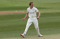 Charlie Morris of Worcestershire celebrates taking the wicket of Sir Alastair Cook during Essex CCC vs Worcestershire CCC, LV Insurance County Championship Group 1 Cricket at The Cloudfm County Ground on 8th April 2021