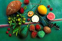 Various fruits, including exotic fruits (cherimoya, guava, rambutan) harvested at Hula Brothers farm, Kurtistown