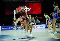 Karin Burger and Peta Toeava compete for the ball during the ANZ Premiership netball final between Northern Mystics and Mainland Tactix at Spark Arena in Auckland, New Zealand on Sunday, 8 August 2021. Photo: Dave Lintott / lintottphoto.co.nz